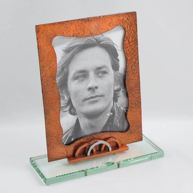 French 1940s Copper and Glass Slab Geometric Picture Photo Frame - Image 2 of 7