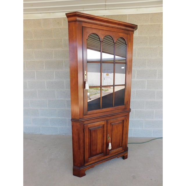 Features Fine Quality Solid Construction, Solid Cherry Wood, , with Key - Approx 38 Years Old ( Cabinet is Lighted However...