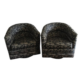 Swivel Club Chairs - a Pair For Sale