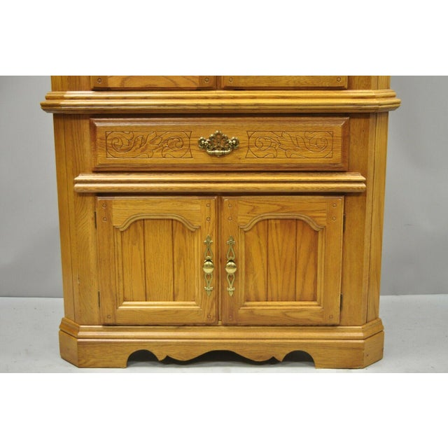 Vintage Oskar Huber Oak Wood Corner China Cabinet | Chairish