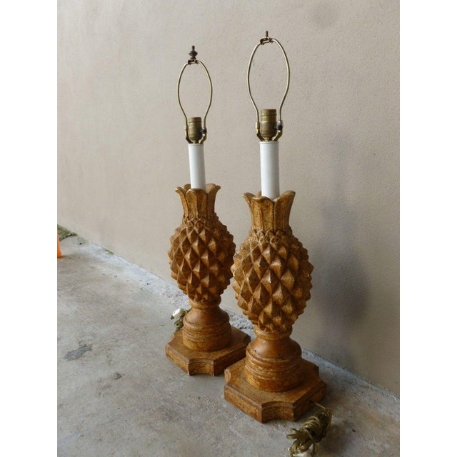 Italian 1970s Italian Haute Design Carved Wood Pineapple Lamps - a Pair For Sale - Image 3 of 9