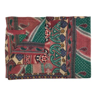 Pink, Green and Paisley Vintage Kantha Quilt For Sale