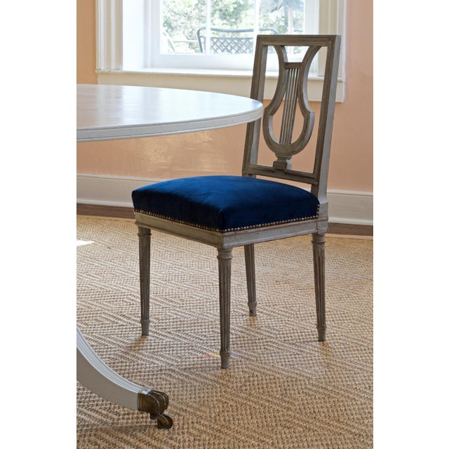 French French Louis XVI Lyre Back Dining Chairs in Blue Indigo Velvet For Sale - Image 3 of 8
