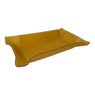 Mustard Gold Italian Leather Valet Tray Trinket Catchall Dish For Sale