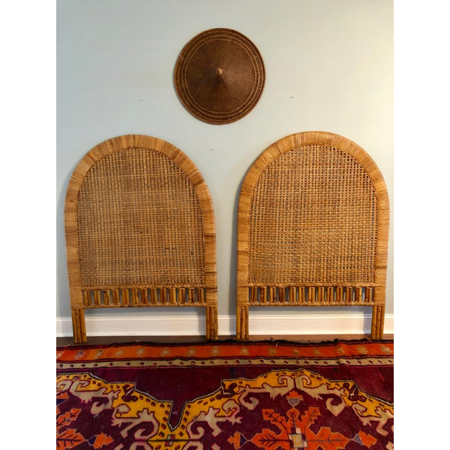 Vintage Mid-Century Arched Cane Rattan Twin Headboards - a Pair - Image 8 of 9