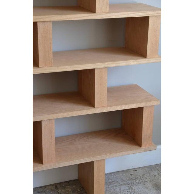 DESIGN FRERES Contemporary Design Frères Verticale Polished Oak Shelving Unit For Sale - Image 4 of 7