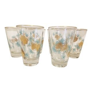 Mid-Century Modern Libbey Glass Turquoise Blue & Gold Pine Cone With Gold Trim Tumblers - Set of 6 For Sale