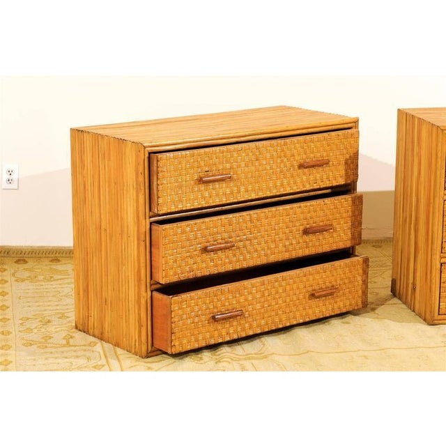 Handsome Pair of Restored Vintage Bamboo and Rattan Chests For Sale - Image 9 of 10