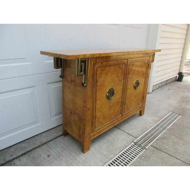 1970s Burlwood and Brass Console Cabinet -Attributed to Mastercraft For Sale - Image 5 of 12