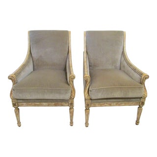John-Richard Italian Style Upholstered Armchairs - A Pair For Sale