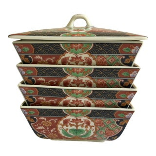 Japanese Lidded Porcelain Stacking/Nesting Bowls in Imari Style - Set of 4 For Sale