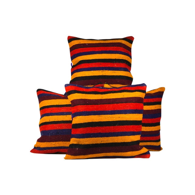 """Red Striped Matching 20"""" Kilim Pillows - Set of 4 - Image 1 of 3"""