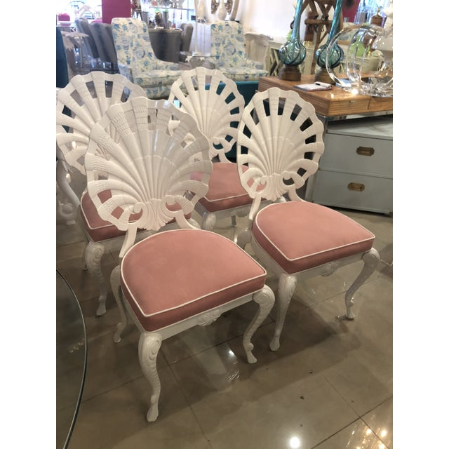 Fabric Vintage Brown Jordan Grotto Shell Back White Powdercoated Patio Chairs and Table -Set of 5 For Sale - Image 7 of 13