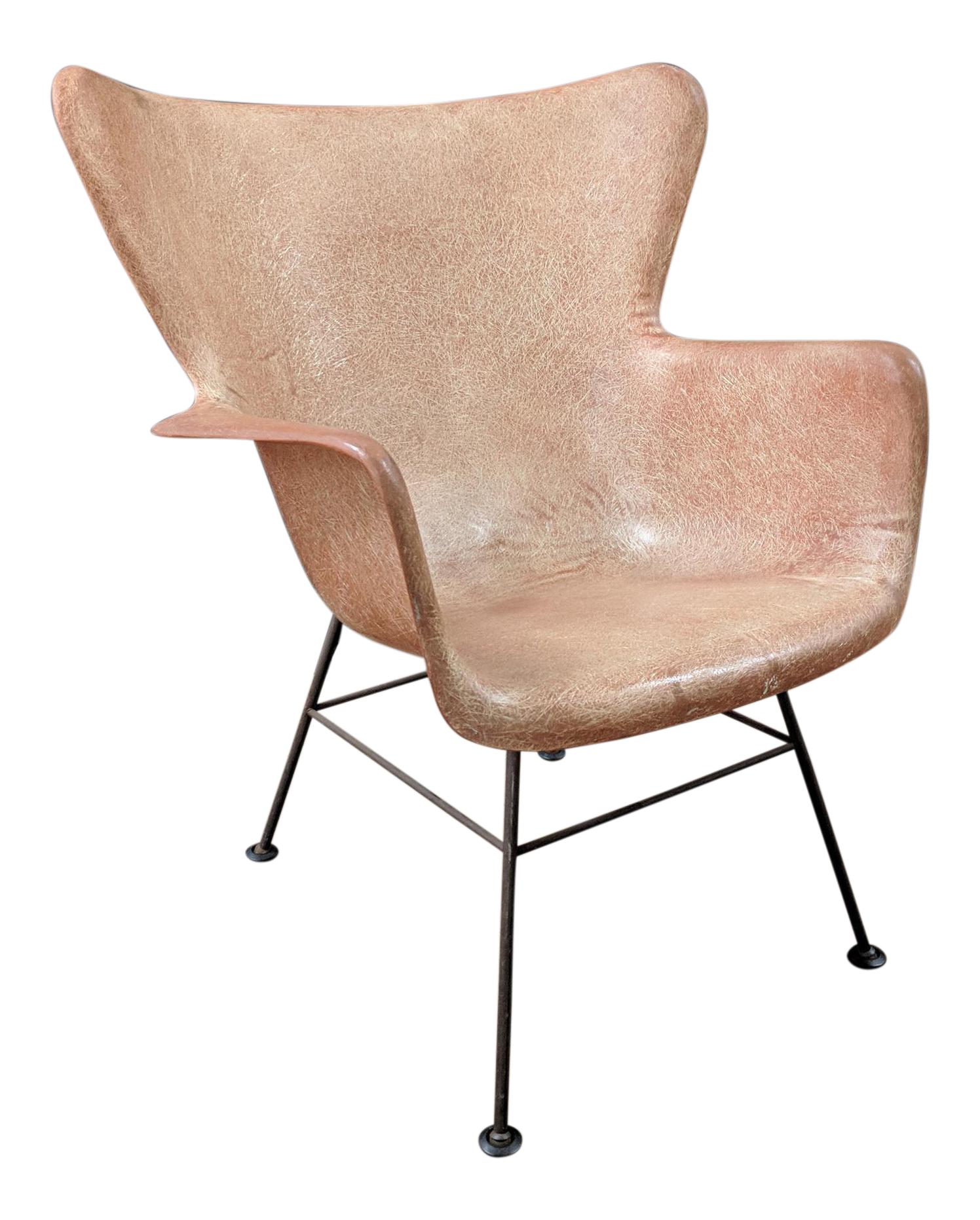 Lawrence Peabody For Selig Mid Century Wingback Fiberglass Chair   Image 1  Of 11