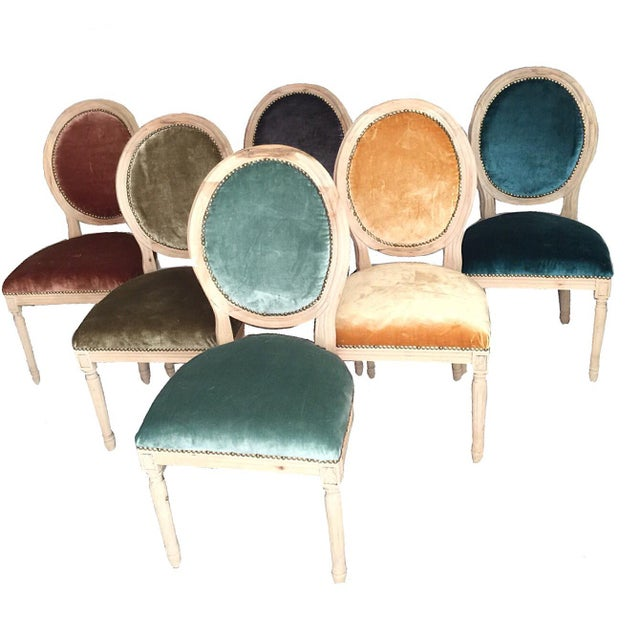 Silk Velvet & Animal Hide Chairs - Set of 6 For Sale In Los Angeles - Image 6 of 6