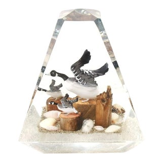 Modern Geese, Driftwood & Shells in Acrylic Sculpture For Sale