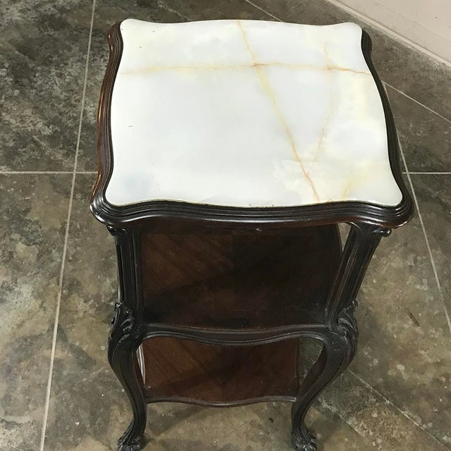 19th Century French Solid Rosewood Nightstand - Etagere Lamp Table For Sale - Image 10 of 12