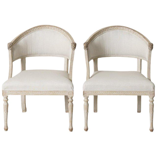 Swedish Gustavian Barrel Back Armchairs With Lions' Heads - a Pair For Sale