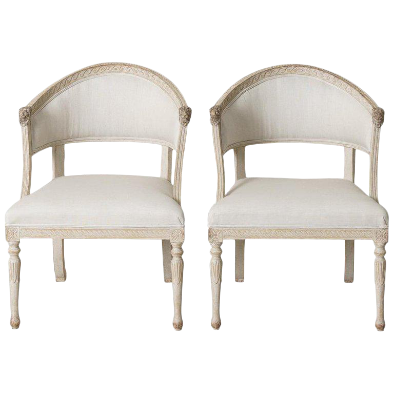 Swedish Gustavian Barrel Back Armchairs With Lionsu0027 Heads   A Pair For Sale