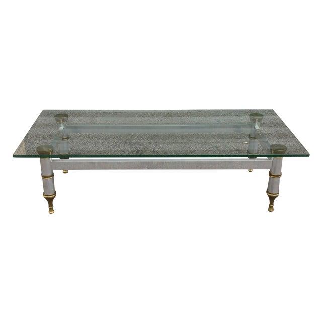 Mid-Century Aluminum & Brass Coffee Table - Image 1 of 11