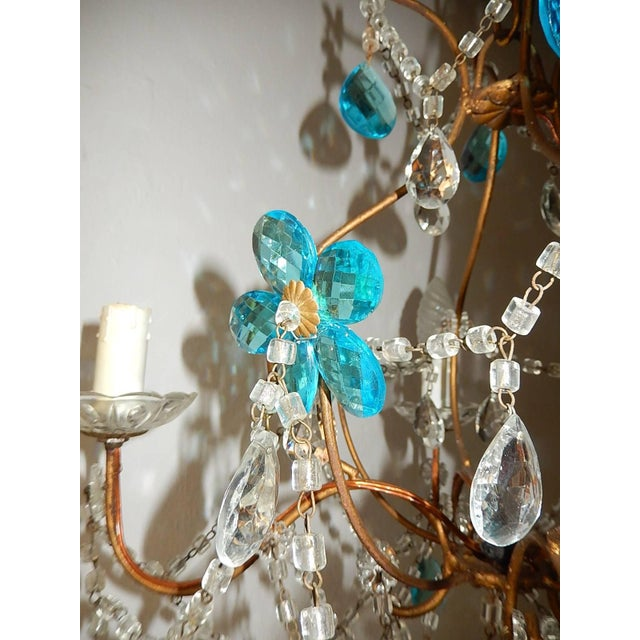 1920 French Bagues Style Aqua Flowers Crystal Chandelier For Sale - Image 6 of 10
