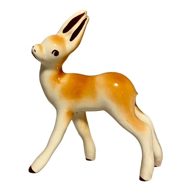 1950s Vintage Children's Ceramic Long Eared Deer For Sale