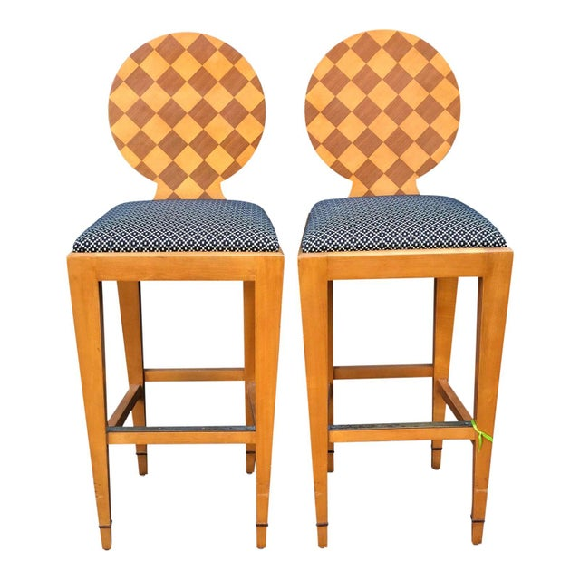 Donghia - Pair of Paris Hall Modern Designer Bar Stools by Angelo Donghia For Sale In Los Angeles - Image 6 of 6