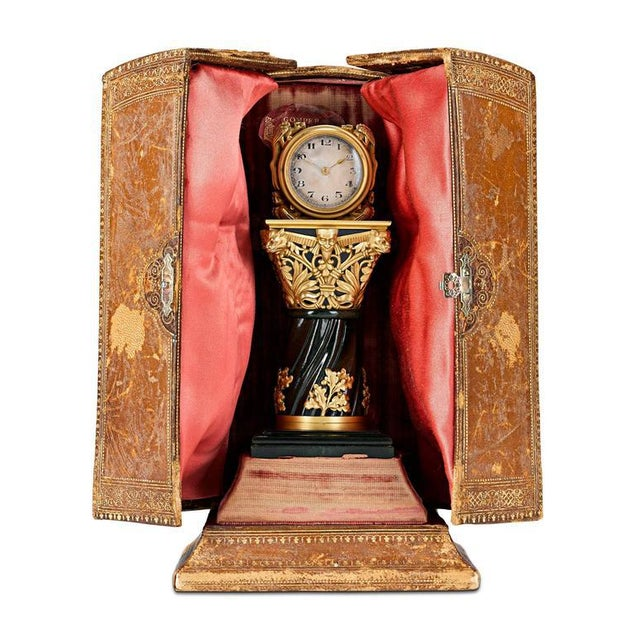 Late 19th Century Paul Frey Miniature 18-Karat Gold and Jade Clock For Sale - Image 5 of 7