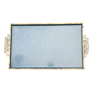 Vintage Kyes Moire Brass & Blue Glaze Tray For Sale