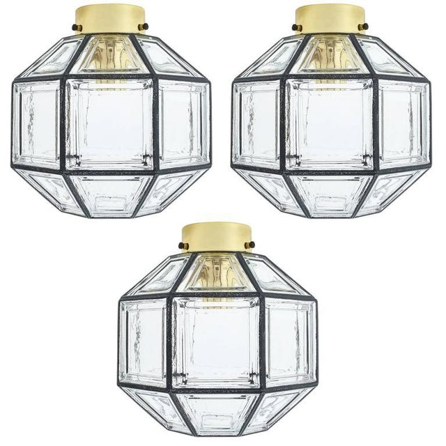 Gold Set of Three Clear Glass Lantern Flush Mounts Lamps by Limburg For Sale - Image 8 of 8