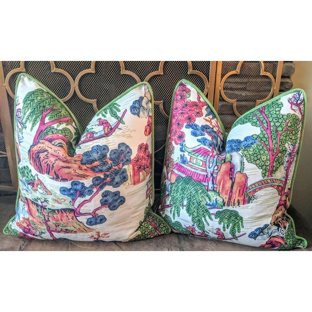 Thibaut Chinoiserie Style Asian Scenic Thibaut Fabric Pillow Covers- A Pair For Sale - Image 4 of 4