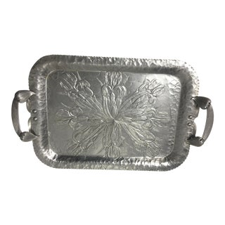 1950s Vintage Textured Aluminum Floral Tray For Sale