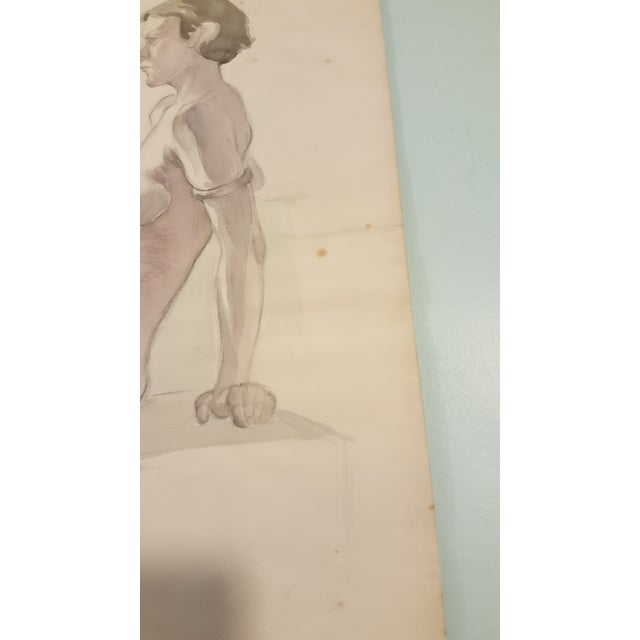Figurative Watercolor of Female Nude By Eileen Churm For Sale - Image 3 of 5