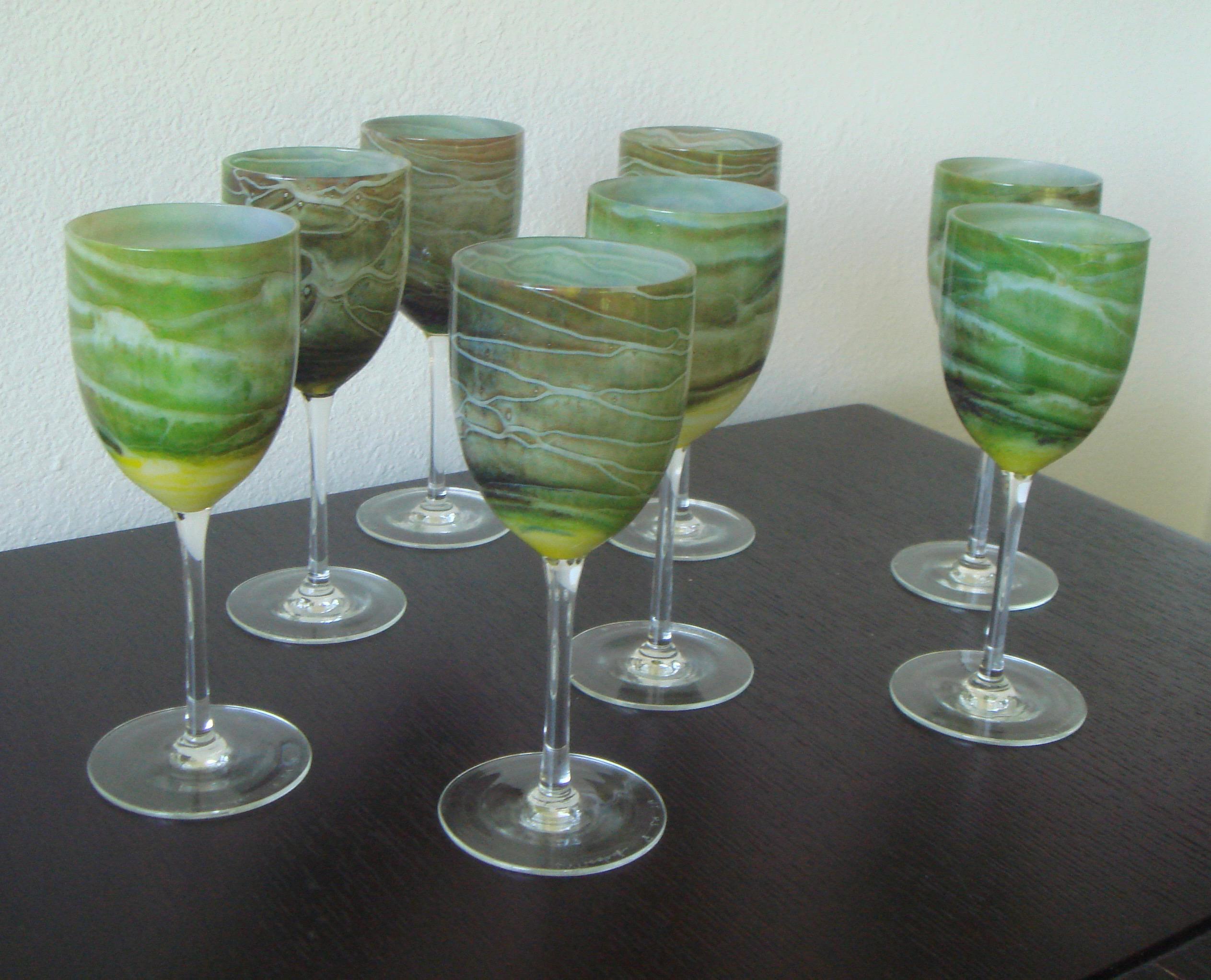 Nice Steven Maslach Handblown Wine Glasses   Set Of 8   Image 9 Of 10