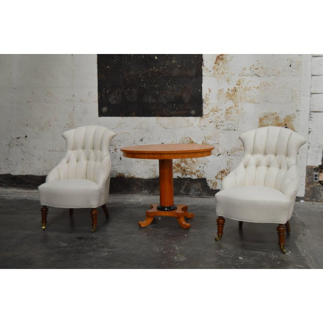 Pair of Vintage Swedish Emma Tufted Slipper Chairs, circa 1900's For Sale - Image 10 of 11