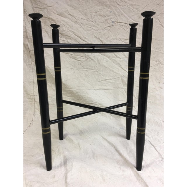 1950s Vintage Black and Gold Folding Tray Table Base For Sale - Image 5 of 5