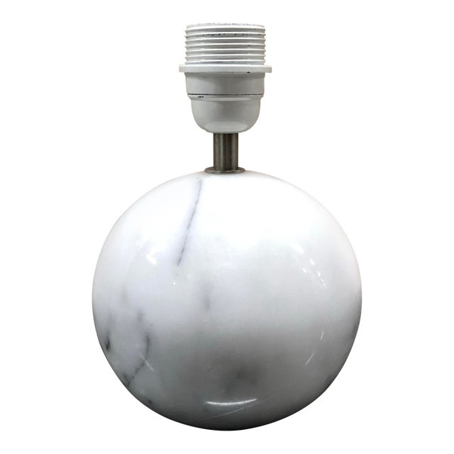 Late 20th Century White Carrera Marble Ball Table Lamp For Sale