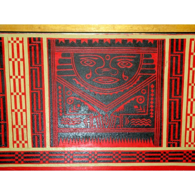 Folk Art Mexican Lacquerware Magazine Stand With Aztec Designs For Sale - Image 3 of 13