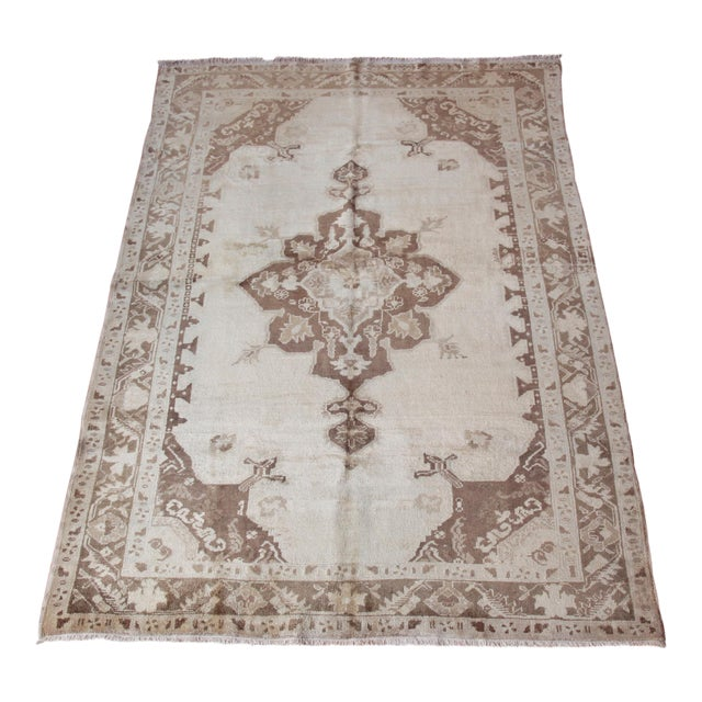 Vintage Turkish Oushak Beige Medallion Wool Rug - 4′4″ × 6′ For Sale