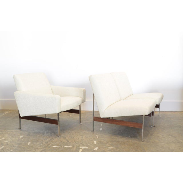 Armchair by Artifort, Holland c. 1962 (note matching side chairs shown are sold). materials: chromed steel frame with teak...