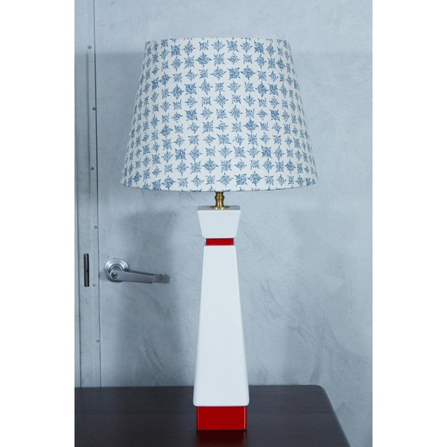 Art Deco Red and White Mid-Century Lamps - A Pair For Sale - Image 3 of 8