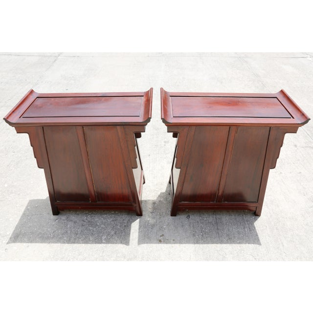 1980s Chinoiserie Carved Wood Pagoda Sidetables - a Pair For Sale - Image 9 of 13