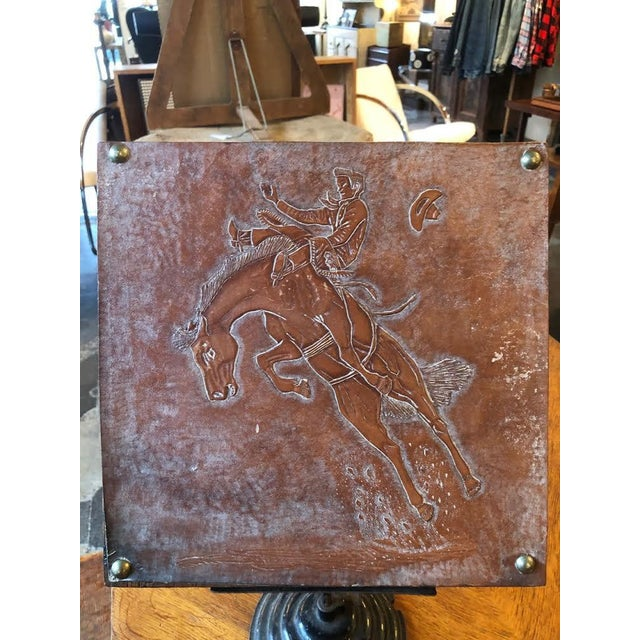 Leather Tooled Cowboy Plaque For Sale - Image 9 of 9