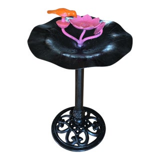 Black Iron Bird Bath Stand** For Sale