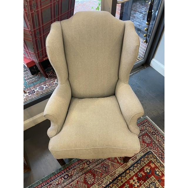 Chippendale 1940s Vintage Mahogany Chippendale Wingback With Down Cushions For Sale - Image 3 of 7