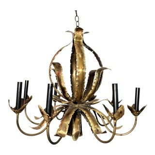 1960s Vintage Tom Greene for Feldmen Company Torch Cut Brass Brutalist Style Chandelier For Sale