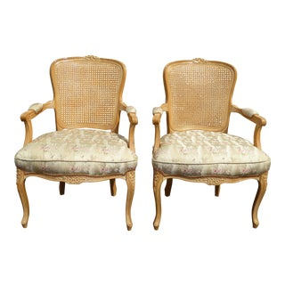Vintage French Provincial Cane Off White Accent Chairs W Floral Print - a Pair
