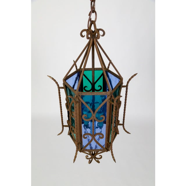 Blue 1920s Gothic Revival Lantern With Blue & Green Glass For Sale - Image 8 of 11