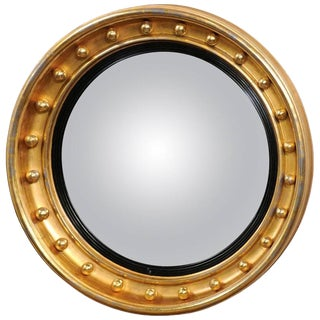 English Giltwood Girandole Mirror with Convex Mirror from the Mid-19th Century
