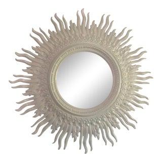 Vintage 70s Mid Century Modern Large 48 White Sunburst Mirror For Sale